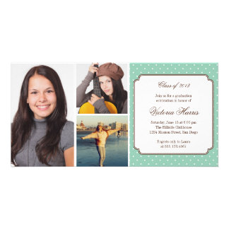 Teal preppy polka dot graduation announcement picture card