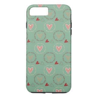 Teal Primitive Country Style Gingham Hearts iPhone 7 Plus Case