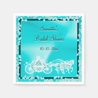 Teal Princess Coach & Horses Bridal Shower Disposable Serviette