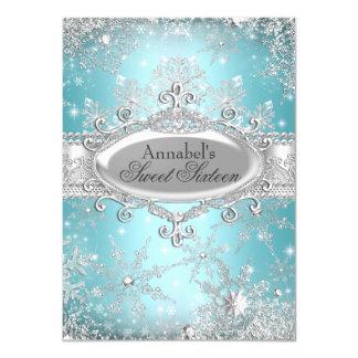 Teal Princess Winter Wonderland Sweet 16 Invite