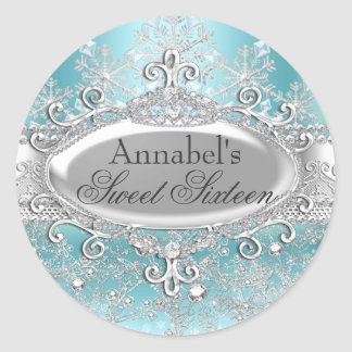 Teal Princess Winter Wonderland Sweet 16 Sticker