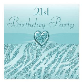 Teal Printed Heart & Zebra Glitter 21st Birthday 13 Cm X 13 Cm Square Invitation Card