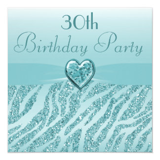 Teal Printed Heart & Zebra Glitter 30th Birthday 13 Cm X 13 Cm Square Invitation Card