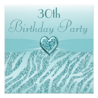 Teal Printed Heart Zebra Glitter 30th Birthday Invite
