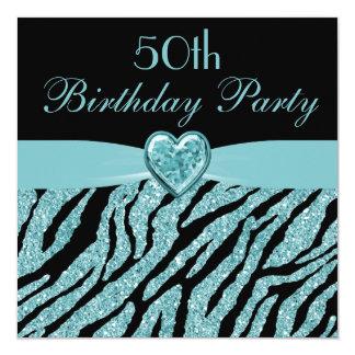 Teal Printed Heart & Zebra Glitter 50th Birthday 13 Cm X 13 Cm Square Invitation Card