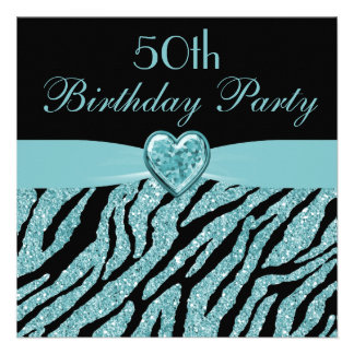 Teal Printed Heart Zebra Glitter 50th Birthday Personalized Invitation