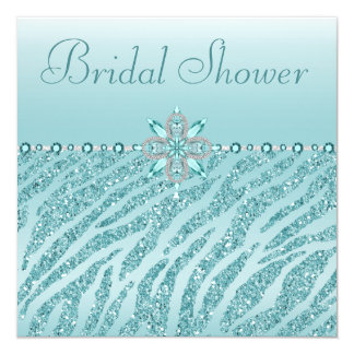 Teal Printed Jewels & Zebra Glitter Bridal Shower Card