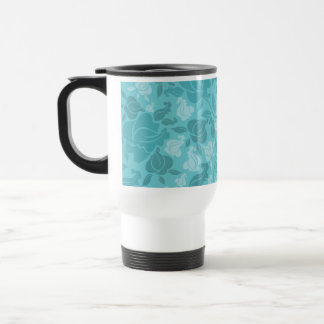 Teal Printed Rose Vines Pattern Travel Mug