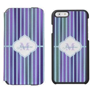 Teal Purple Blue Green Stripe Monogram Incipio Watson™ iPhone 6 Wallet Case