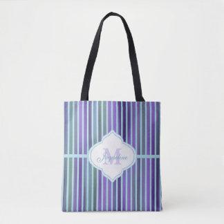 Teal Purple Blue Green Stripe Monogram Tote Bag