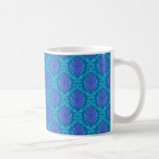 Teal & Purple Damask Mug