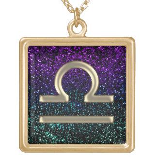 Teal Purple Gold Zodiac Sign Libra Necklace