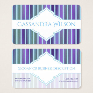 Teal Purple Green Quatrefoil Stripe Business Card