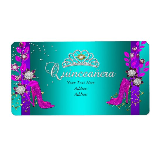Teal Purple Hot Pink Gold Quinceanera
