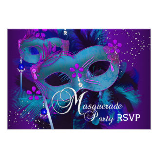 Teal Purple Masks Masquerade Party RSVP Custom Announcement