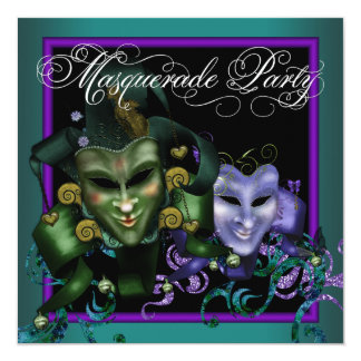 Teal Purple Masquerade Party Invitations