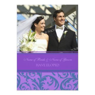 Teal Purple Photo Elopement Announcement Cards