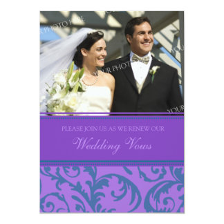"Teal Purple Photo Wedding Vow Renewal Invitations 5"" X 7"" Invitation Card"