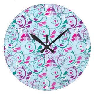 Teal Purple Pink Floral Flourish Swirls on Blue Large Clock