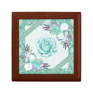 Teal Purple Rose Peony Ribbons Floral Vintage Gift Box