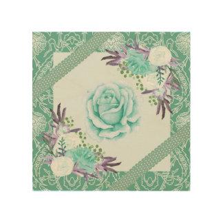 Teal Purple Rose Peony Ribbons Floral Vintage Wood Wall Art
