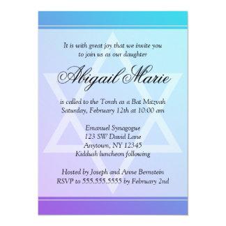 Teal Purple Star of David Bat Mitzvah 14 Cm X 19 Cm Invitation Card