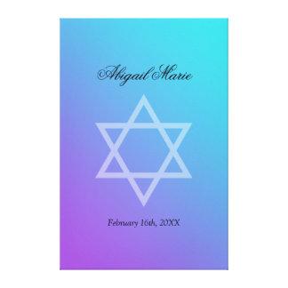 Teal Purple Star of David Bat Mitzvah Sign In