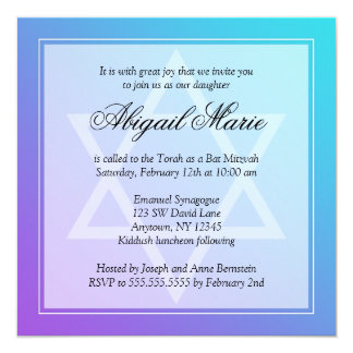 Teal Purple Star of David Bat Mitzvah Square Card