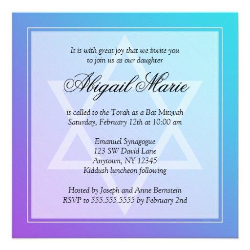 Teal Purple Star of David Bat Mitzvah Square Custom Invites