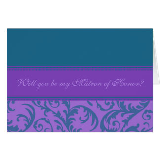 Teal Purple Swirl Matron of Honor Invitation Card