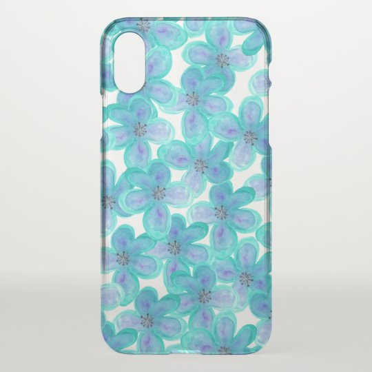Teal Purple Watercolor Floral Pattern Clear iPhone X Case
