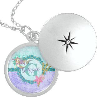 Teal & Purple Watercolor Monogram Mermaid Sterling Silver Necklace