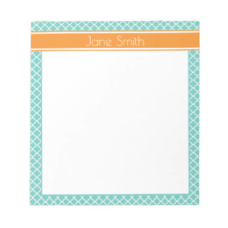 Teal Quarterfoil Personalized Notepad