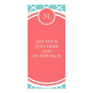 Teal Quatrefoil Pattern, Coral Monogram Rack Card Design