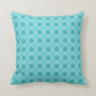 Teal Quatrefoil Pattern Decorative Pillow