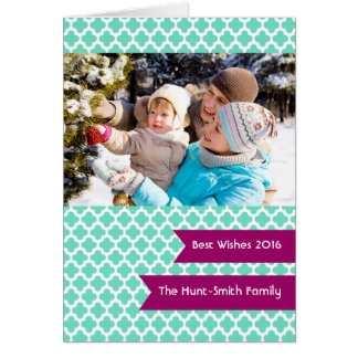 Teal Quatrefoil Photo Folded Holiday Greeting Card