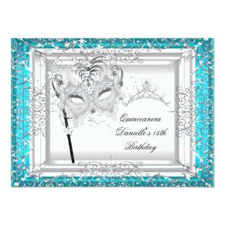 Teal Quinceanera 15th Birthday Tiara Masquerade 14 Cm X 19 Cm Invitation Card
