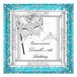 Teal Quinceanera 15th Birthday Tiara Masquerade Personalised Invitation