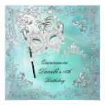 Teal Quinceanera 15th Birthday Tiara Masquerade Personalized Invitation