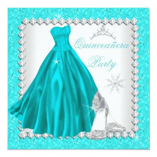 Teal Quinceanera 15th Diamond Birthday Party 13 Cm X 13 Cm Square Invitation Card