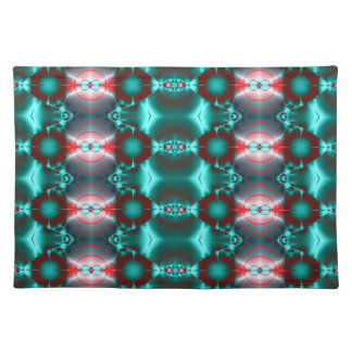 teal red abstract fractal placemat