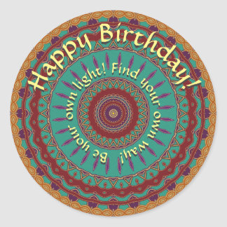 Teal, Red and Purple Mandala with Round Text Classic Round Sticker