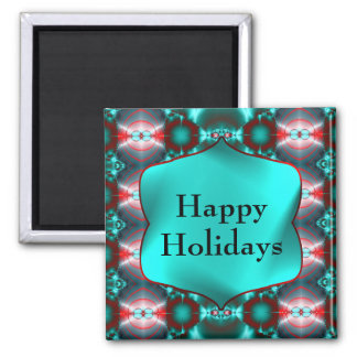 Teal Red Colorful Happy Holidays Fridge Magnet