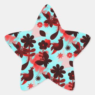 Teal Red Flowers Birds Butterflies Faded Grunge Star Sticker