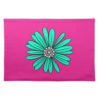 Teal Retro Colorful Modern Flower Pattern Placemat