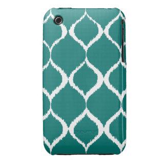 Teal Retro Geometric Ikat Tribal Print Pattern iPhone 3 Cover