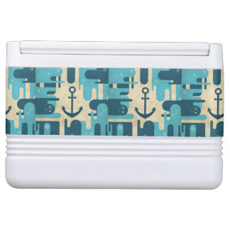 Teal Retro Nautical Anchor Design Cooler