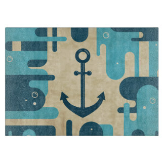 Teal Retro Nautical Anchor Design Cutting Board