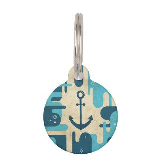 Teal Retro Nautical Anchor Design Pet Tag