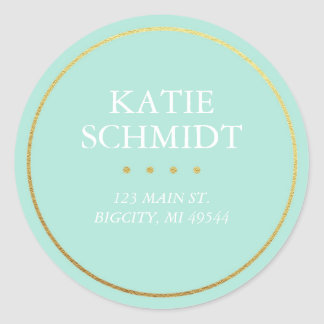 Teal Return Address Label with Faux Gold Foil Round Sticker